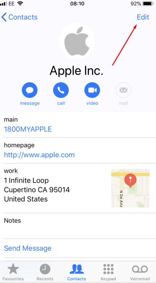 How to edit an iPhone contact